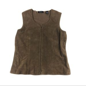 Lord & Taylor Women's Suede Leather Brown Vest L